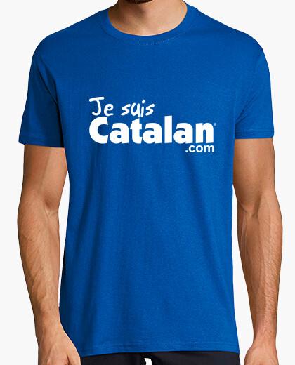 Tee-shirt Je suis Catalan - Bleu & blanc - Bord blanc
