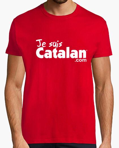 Tee-shirt Je suis Catalan - Rouge & blanc - Bord blanc