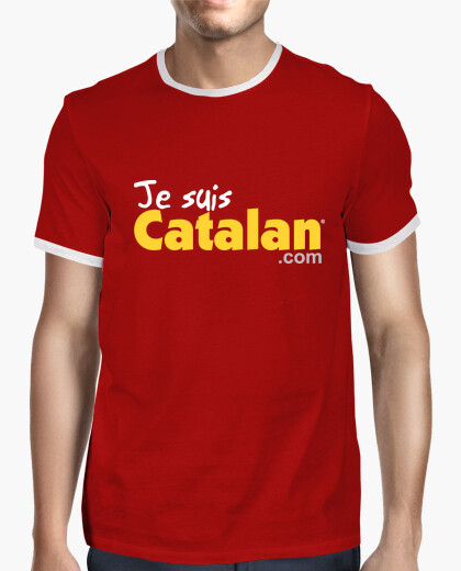 Tee-shirt Je suis Catalan - Rouge & Or - Bord blanc