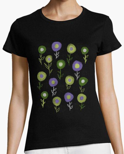 Tee-shirt motif de fleurs rondes violet vert