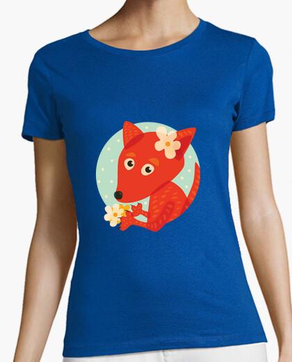 Tee-shirt renard et fleurs mignons