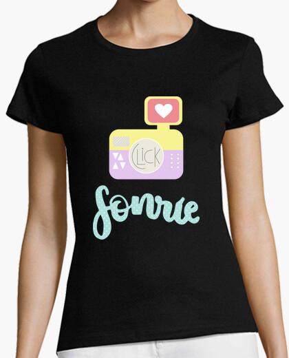 Tee-shirt sourire - femme, manches courtes, noir, qualité prime