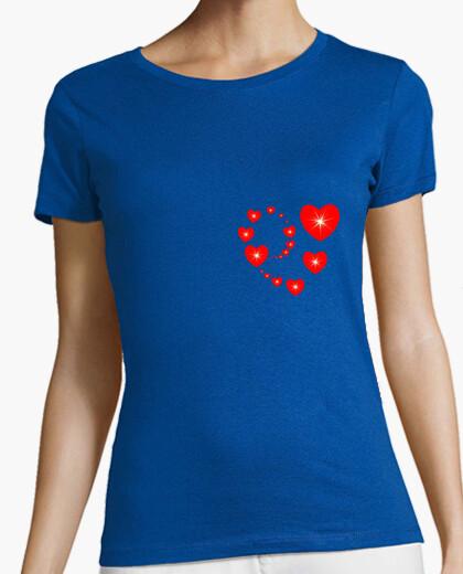 Tee-shirt t shirt coeur rouge forme coeur amour