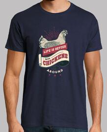 tee-shirt vie de ferme de poulet vintage