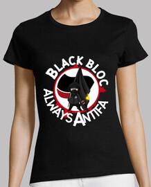 tee-shirt woman - black block always antifa