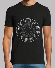 tee shirt 12 segni zodiaco calendario uomo sfondo scuro