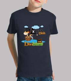 tee shirt bambino dinh dinosauro pirata nero