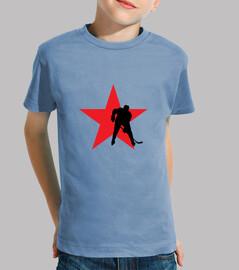 tee shirt bambino hockey, manica corta, celeste