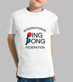 tee shirt bambino ping-pong, manica corta, bianco
