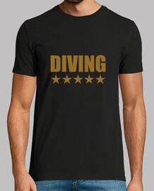 Tee shirt Diving homme, noir, qualité supérieure