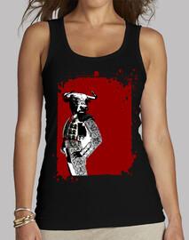 Tee shirt femme, bretelle, rouge