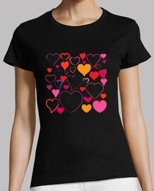 Tee shirt femme coeurs