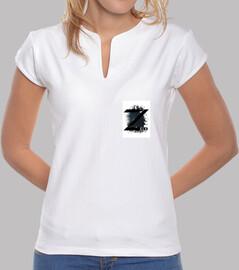 Tee shirt femme, col mao, blanc