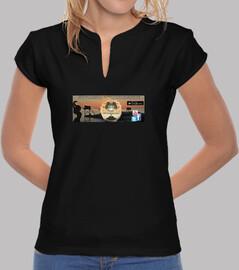 Tee shirt femme, col mao, noir