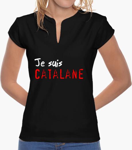 Tee-shirt Tee shirt femme, col mao, noir