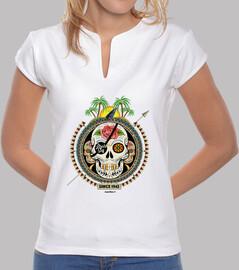 Tee shirt femme, col mao, rose