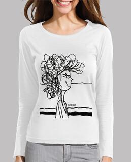 Tee shirt femme, manche longue, blanc
