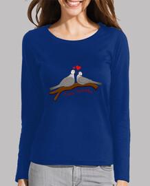 Tee shirt femme, manche longue, bleu électrique