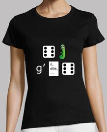 Tee shirt femme, noir, - Dévergondée - rébus - Humour