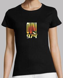 Tee shirt femme, noir, ovni 974, impression dos et avant shirt