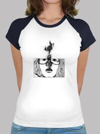 Tee shirt femme, style baseball, blanc et bleu marine