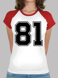 Tee shirt femme, style baseball, blanc et rouge