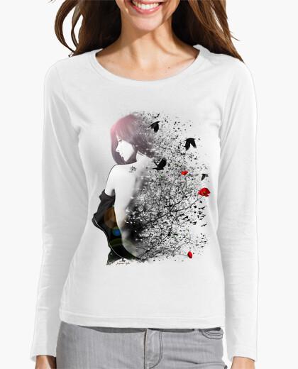T-Shirt tee shirt frau langärmlige weiße