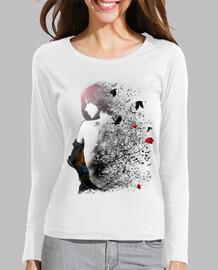 tee shirt frau langärmlige weiße