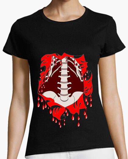 Tee-shirt tee shirt Halloween femme zombie squelette