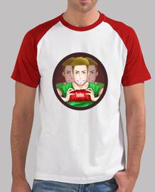 Tee shirt homme, style baseball, blanc et rouge