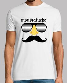 Tee shirt homme, style moustaluche, blanc