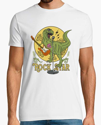 Tee-shirt tee shirt humour dinosaure rock star t-rex