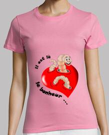 tee shirt il est la le bonheur noir ver femme
