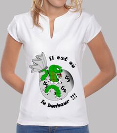 tee shirt il est ou le bonheur noir ver mao femme