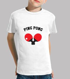 tee shirt kind tischtennis, kurze ärmel, weiß