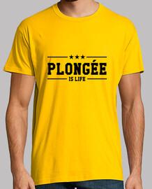 Tee shirt Plongée homme, jaune moutarde, qualité supérieure