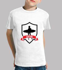 tee shirt surf bambino, manica corta, bianco