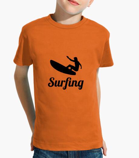 Vêtements enfant Tee shirt Surf enfant, manche courte, orange