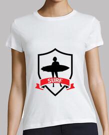 Tee shirt Surf femme, blanc, qualité supérieure