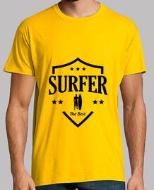 Tee shirt Surf homme, jaune moutarde, qualité supérieure