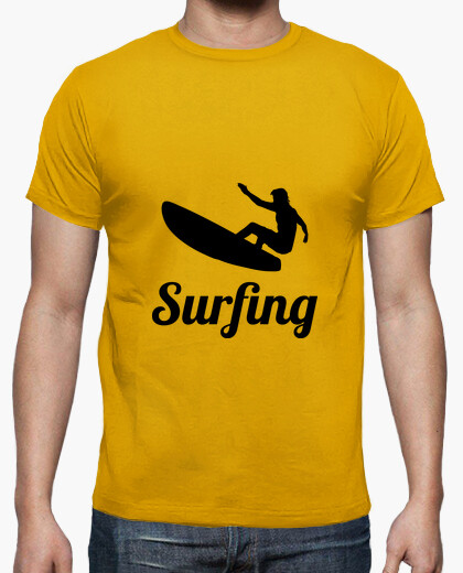 tee shirt tee shirt surf homme jaune moutarde qualit. Black Bedroom Furniture Sets. Home Design Ideas