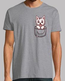 terrier de la montaña del oeste del bolsillo - camisa para hombre