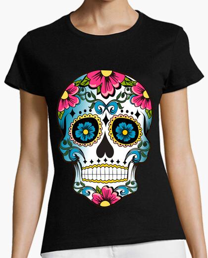 T-shirt teschio di sugar floreale cooltee. tostadora