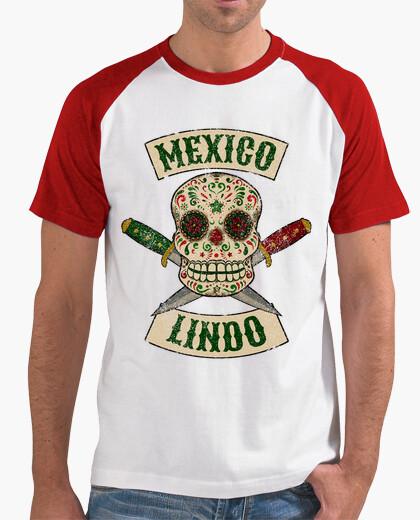 T-shirt teschio messicano con coltelli carino messico