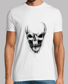 teschio nero alieno t-shirt bianca