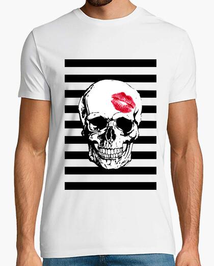 T-shirt teschio rosso bacio