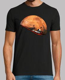 Tesla Roadster orbitando marte camiseta