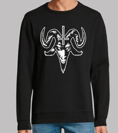 tête de chèvre satanique avec croix (bl