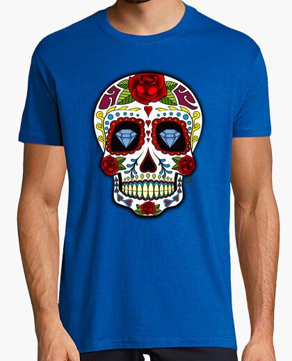 Tee-shirt Tête de mort Mexicaine avec Diamants