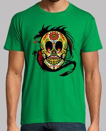tete de mort mexicaine dragon tribal